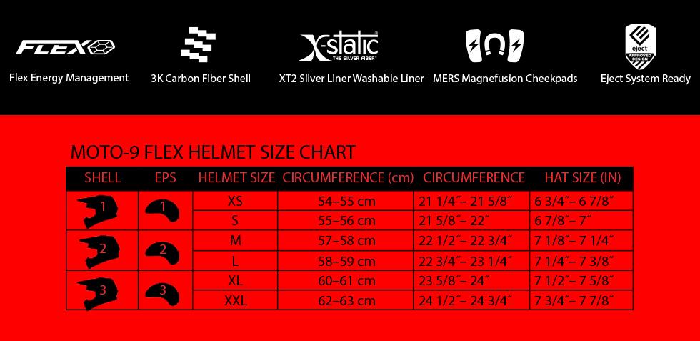 moto-9 flex size chart at moto-d racing