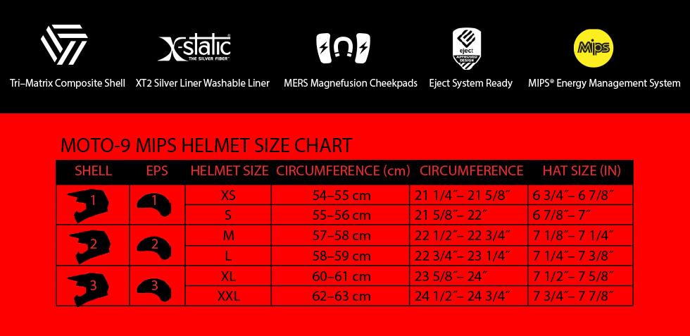 moto-9 mips size chart at moto-d racing