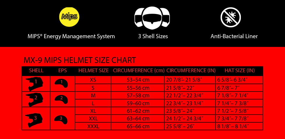 bell mx-9 mips size chart at moto-d racing