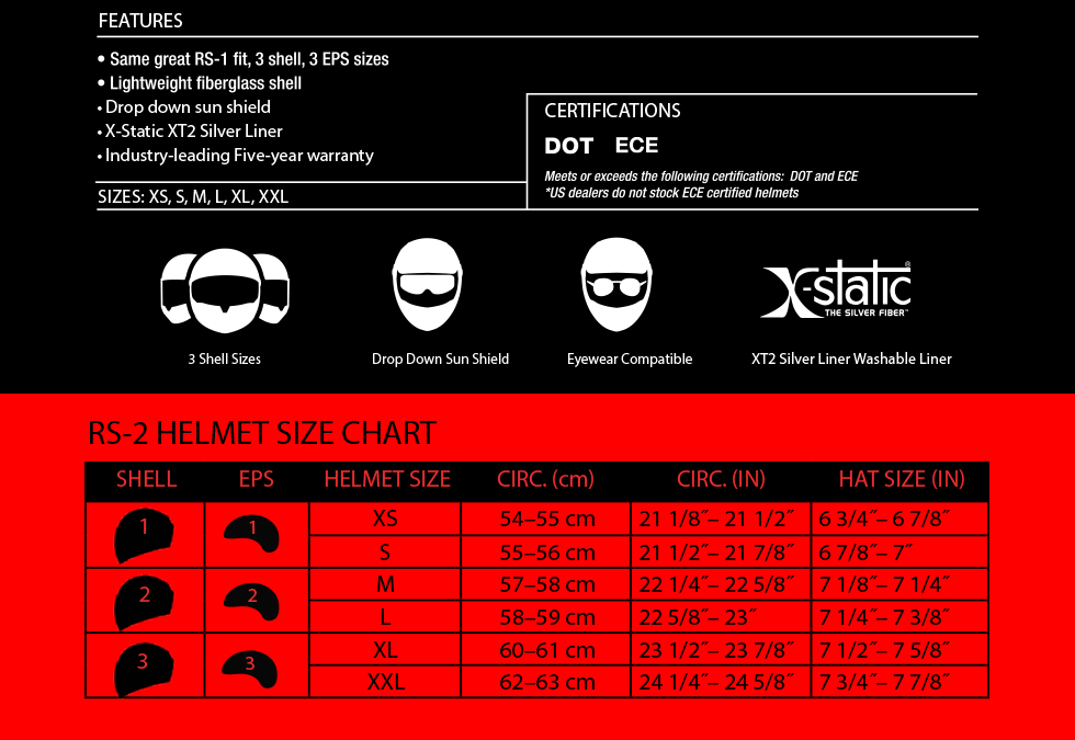 Bell SRT Size Chart at MOTO-D Racing