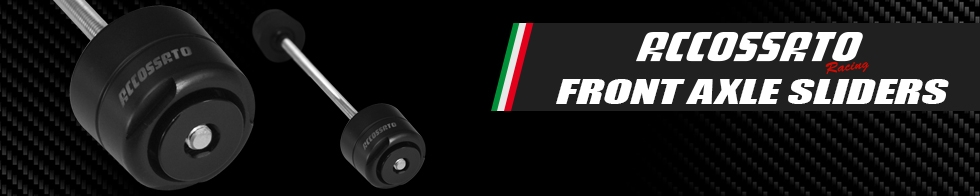 Accossato front axle slider kits available at MOTO-D Racing