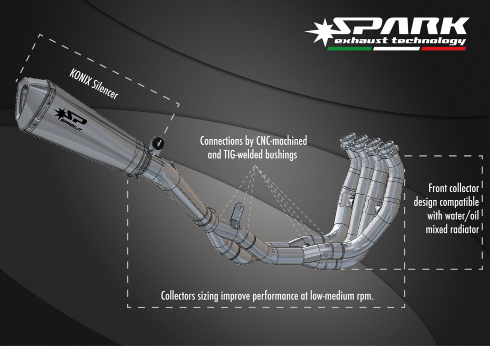 spark exhaust sysyem for yamaha r6 in konix full titanium