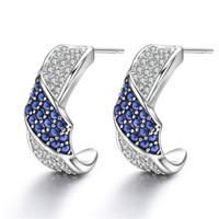 Blue Sapphire Huggie Hoop Earrings