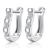Silver Hoop Earrings with Crystal Diamonds