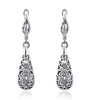Silver Filigree Drop Earrings