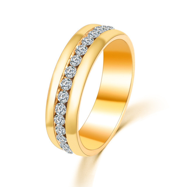 Gold Stainless Steel Crystal Eternity Ring AngelSale