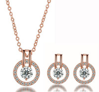 Rose Gold Double Halo Swarovski Elements Necklace and Earrings Set
