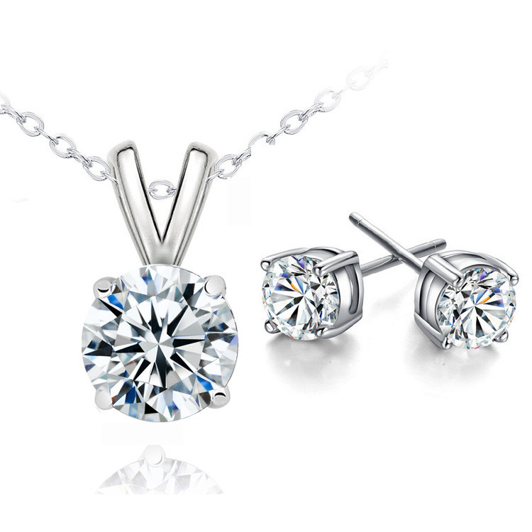 Earrings And Necklace Set With Cubic Zirconia Crystals Angelsale