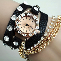 Crystal Multilayer Chain Leather Watches