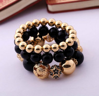 Flower Gold Beaded Stretch Bracelet Set