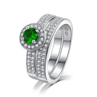 Emerald Simulated Micro Inserted Band Ring