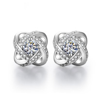 Brilliant Crystal Flower Stud Earrings