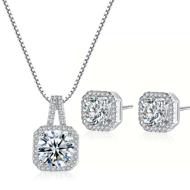 Princess Cut Diamond Necklace and Earring Set - AngelSale a638c36b4d