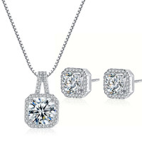 Princess Cut Diamond Necklace and Earring Set