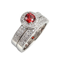 Ruby Simulated Micro Inserted Band Ring