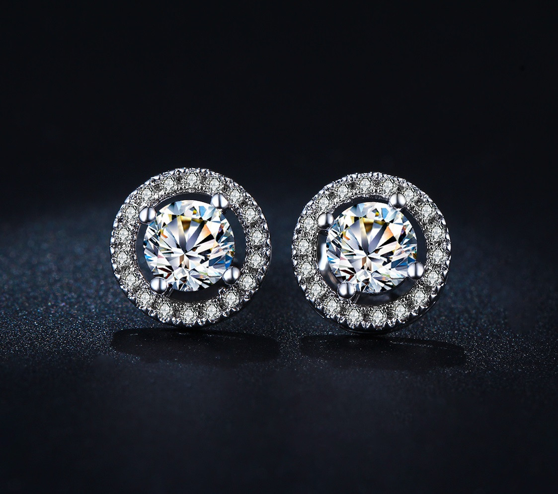 bed3ac95c9e8b Round Luxury Swiss Crystals Stud Earrings