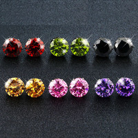 10 Pairs Swarovski Elements Round Crystal Stud Earrings Set