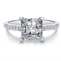 Sterling Silver Princess cut Diamond Ring