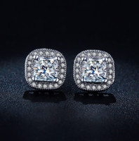Cushion Cut Luxury Swiss Stud Earrings