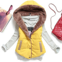 Thermal Hooded Quilted Vest Coat size L