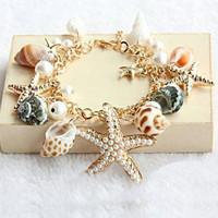 Natural Gold Tone Sea Shell Charm Bracelet