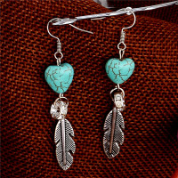 Silver Heart Turquoise Earrings
