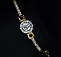 Gold Perfect Cut 3.5 ct CZ Swarovski Elements Bracelet