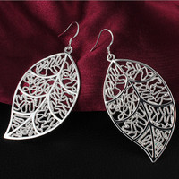 Delicate Silver Filigree Leaf Earrings