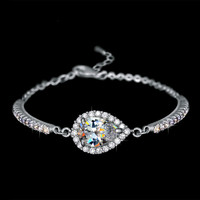 Pear Shaped Cubic Zirconia Halo Bracelet