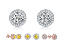 Round Platinum Plated Cubic Zirconia Stud Earrings