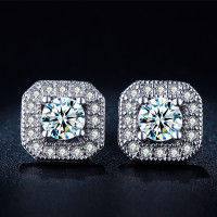 Luxury Swiss White Gold Plated Stud Earrings