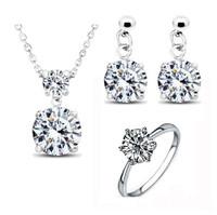 Twinkle Cubic Zirconia Earrings, Necklace, Ring Jewelry Set