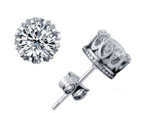 Round 2 Carat Cubic Zirconia Silver Stud Earrings