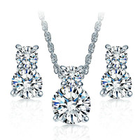 Cubic Zirconia Double Love Earrings and Necklace Set