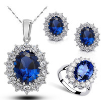Swarovski Elements Sapphire Jewelry Set