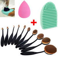 10Pcs Oval Makeup Brushes + Free Brush Cleaner + Free Makeup Sponge