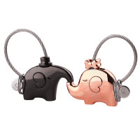 Elephant Love Keychain Set Black/Gold