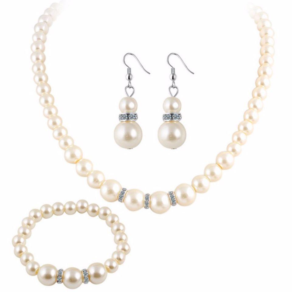 a649dd2d0abb3 Cultured Freshwater White Pearl Necklace Bracelet & Drop Earring Jewelry Set