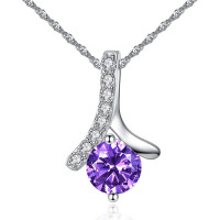 Amethyst Crystal Wave of Love Necklace