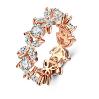 Dazzling Crystal Flower Ring in 18K Rose Gold