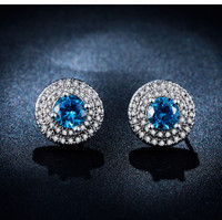 Mystery Blue Elegant Stud Earrings