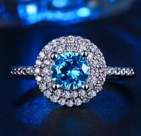 Mystery Blue Cubic Zirconia Elegant Ring