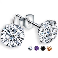 Sterling Silver Diamond Simulated  Earrings