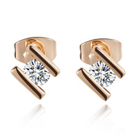 Elegant Gold Plated with Swarovski Elements Stud Earrings