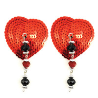 Bijoux de Nip Heart Red Sequin Pasties w/ Facet Beads
