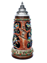 Ceramic Christmas Beer Stein with Pewter Lid