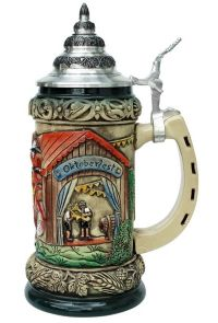 Antique Rustic Style Oktoberfest Beer Mug with Lid