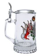 Personalized Glass Beer Stein with Pewter Lid