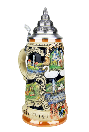 Bavarian castles Beer Stein with 24K Gold Accents