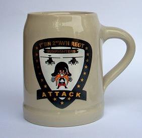 Ceramic beer mug with custom color logo